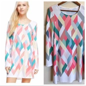 Geometric Print Sweater Dress